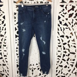 Express Distressed High Rise Ankle Jeans